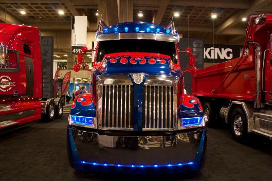 Optimus Prime Western Star Truck On Display At ExpoCam 2015 in Montreal.